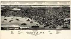 Seattle 1884 Bird\s Eye View 17x30 Seattle 1884 Bird\s Eye View Washington  map online